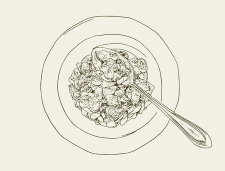 crunchy: Corn flakes cereal, sketch vector.