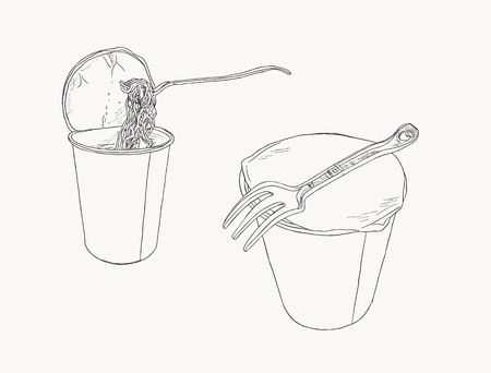 Instant noodle in cup , sketch vector set. Ilustrace