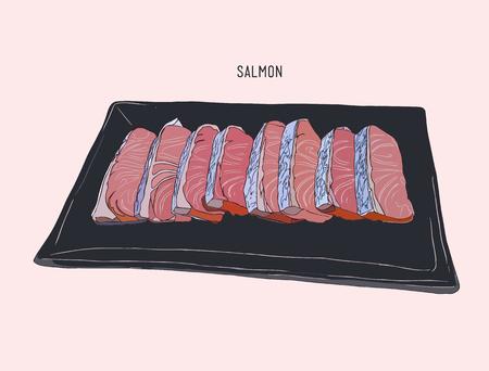 skin burns: Salmon sliced Aburi on a plate, Salmon sliced  sketch vector. Illustration