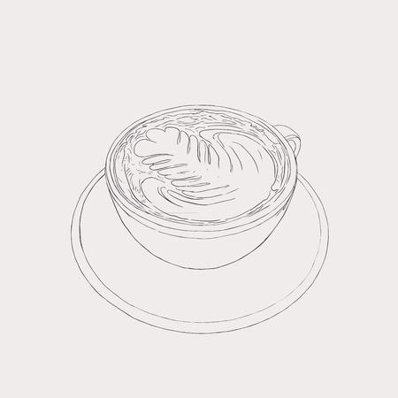 cappucino: matcha latte , latte hot drink with latte art, sketch vector. Illustration