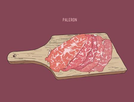 sliced paleron meat , sketch vector.