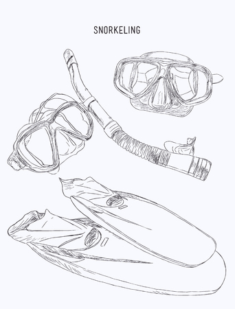 deep sea diver: diving mask, snorkel and pair of grey flippers. Fins, scuba mask and tube. Diving equipment objects. Underwater swimming. Vector