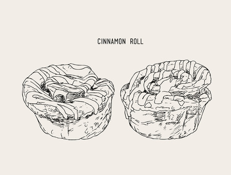 cinnamon swirl: cinnamon rolls set top with sugar , sketch vector.