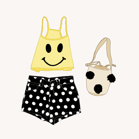 bikini top: beach wear collection of tank top, polka dot shortes and pom pom bag. summer clothes ,sketch vector. Illustration