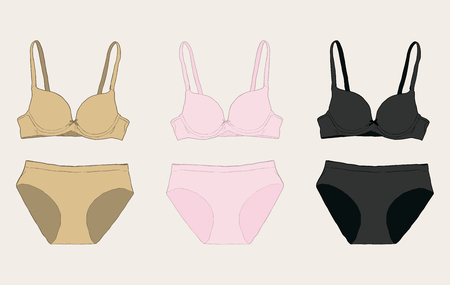 Women underwear: panties and bra set. sketch vector Ilustração