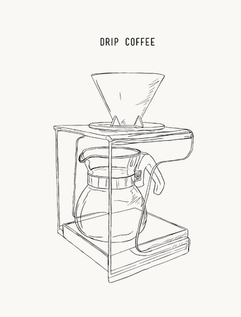 A filter drip coffee machine, sketch vector.