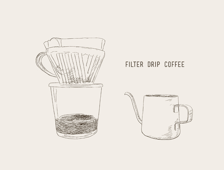 A filter drip coffee, filter drip and kettle sketch vector.
