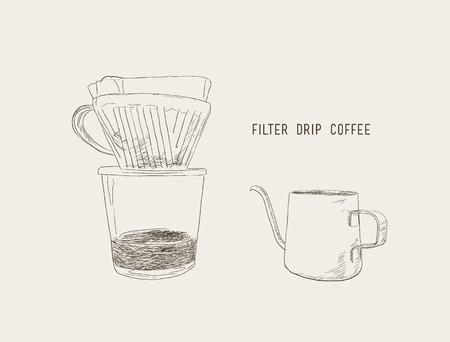 Een filterdruppelkoffie, filterdruppel en ketelschetsvector.