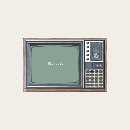A retro television, TV old style sketch vector. Ilustração