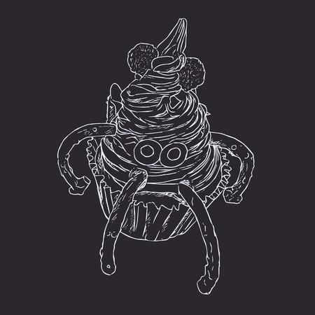 Monster cupcake, spooky for halloween. sketch vector.