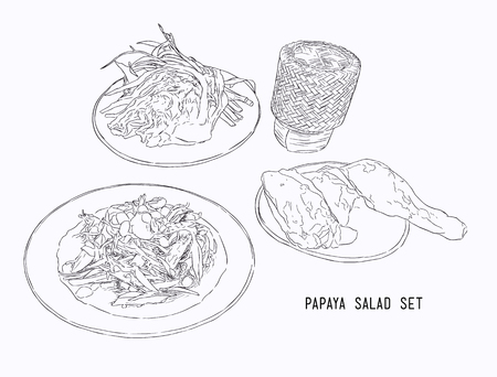 papaya salad or som-tum with grilled chicken and sticky rice .hand drawn water color sketch vector. Illustration