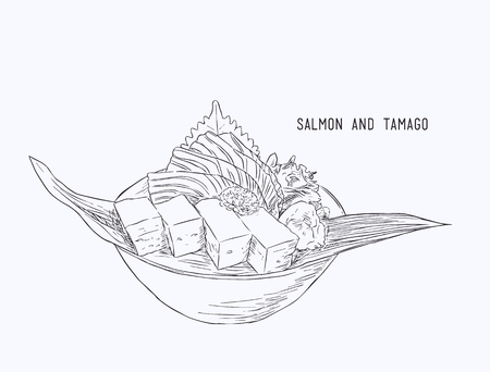 Fresh salmon food vector. Vektorové ilustrace