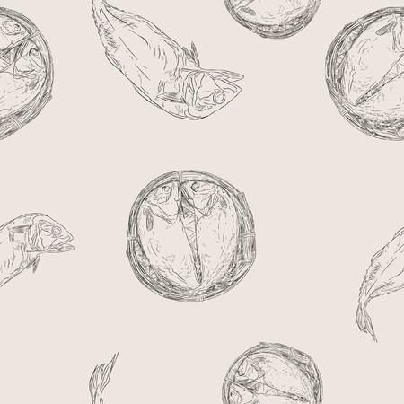 mackerel: Streaming short mackerel in a basket, hand drawn sketch vector. Illustration