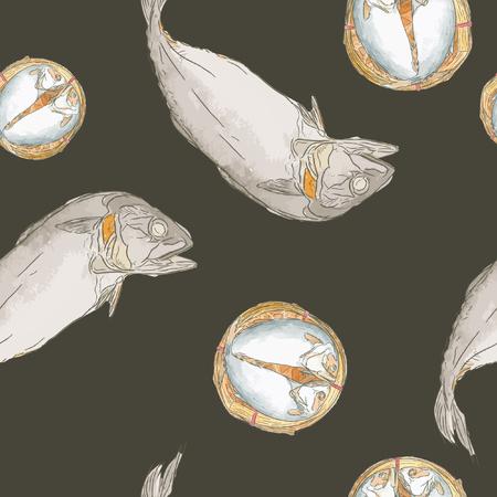 Streaming short mackerel in a basket, hand drawn sketch vector.  イラスト・ベクター素材