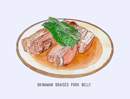 豚バラ肉料理沖縄料理手描き下ろし水カラー スケッチ ベクトル。  イラスト・ベクター素材