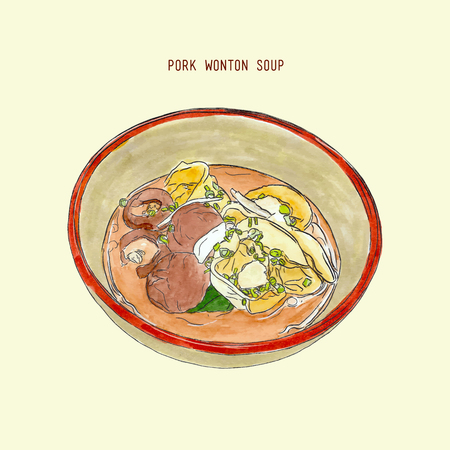 Pork wonton soup in bowl , hand drawb water color sketch vector. chinese tradition food.