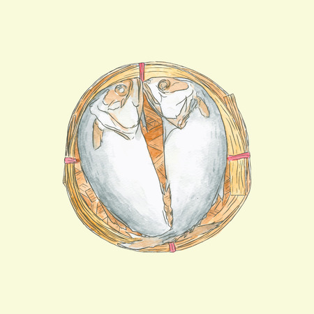Steaming short mackerel in a basket , hand drawn sketch vector.