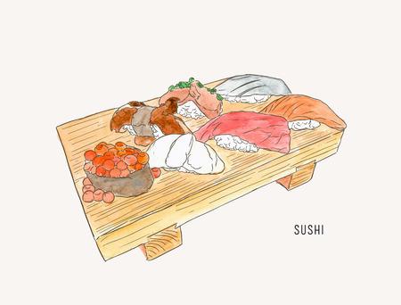 Set of sushi , japanese food . hand drawn water color sketch vector. Illustration