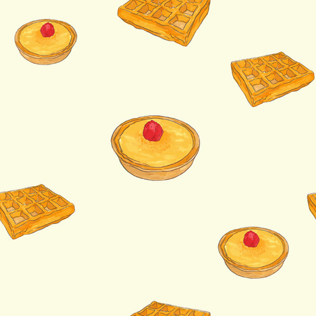 Creme brulee tart and waffle sketch vector pattern, set of pastry water color style.