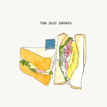 Sandwiches set water color vector drawing, tuna salad sandwich sketch vector.