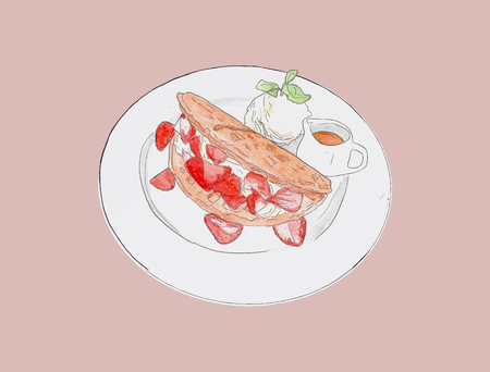 Strawbeery waffle with fresh cream, honey and vanilla ice-cream , hand drawn water color sketch vector. Illustration