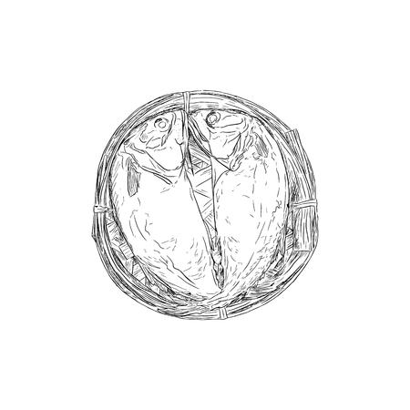 Streaming short mackerel in a basket , hand drawn sketch vector.