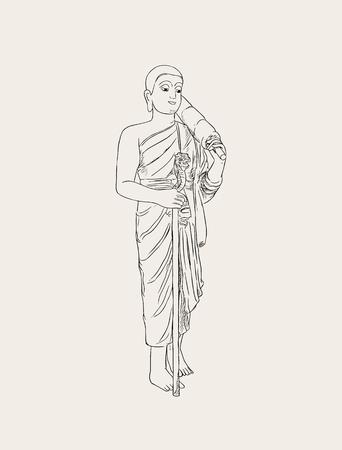 坊主の僧侶のベクター イラストです。フルレングスの人のイメージ。