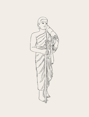 A Vector illustration of shaved buddhist monk. Full-length person image.
