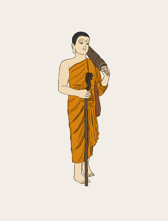 buddhist monk: Vector illustration of shaved buddhist monk. Full-length person image.