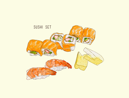 egg roll: set of sushi , japanese food . hand drawn water color sketch vector. Illustration