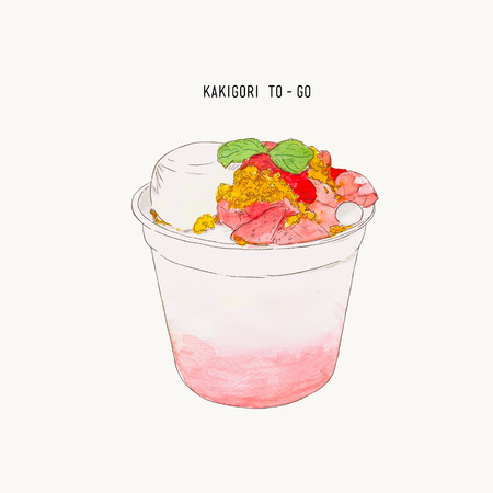 Strawberry Kakigori - Japanese shaved ice dessert flavored, This is drizzled with a milk ice base, more sweet fresh fruit at the bottom and topped with pudding, crumble  and sauce. serve in take away cup, hand drawn water color illustration vector. Ilustração