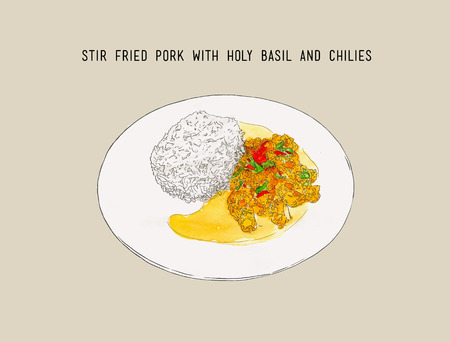 stir-fried pork and holy basil, Thai food pad kra pao. hand drawn water coloring sketch vector.