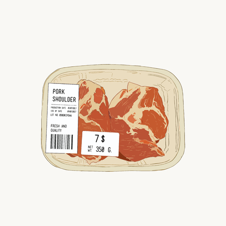 raw pork shoulder in pack in super market meat zone , hand draw sketch vector.