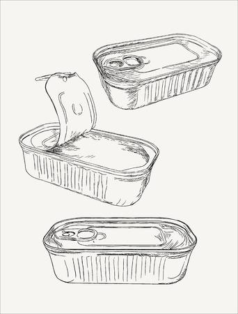 Barattoli di latta aperti e chiusi, disegnati a mano vettore di linee di schizzo.
