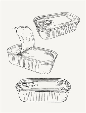 tinned: Opened and closed food tin cans, hand drawn sketch line art vector. Illustration