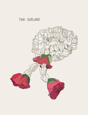 Thai style bouquet use in traditional, hand draw sketch vector.