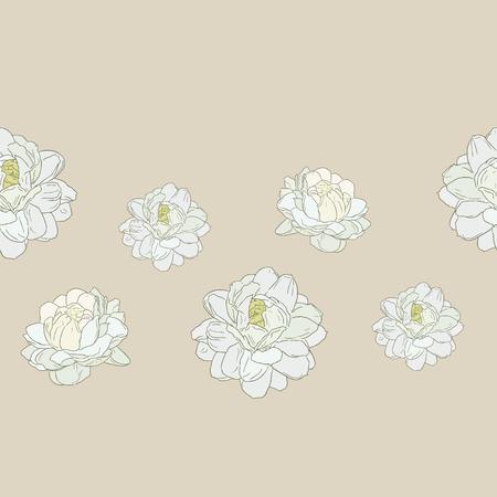 Jasmijn bloem gebruik in traditionele moederdag, hand tekenen schets naadloze patroon vector.