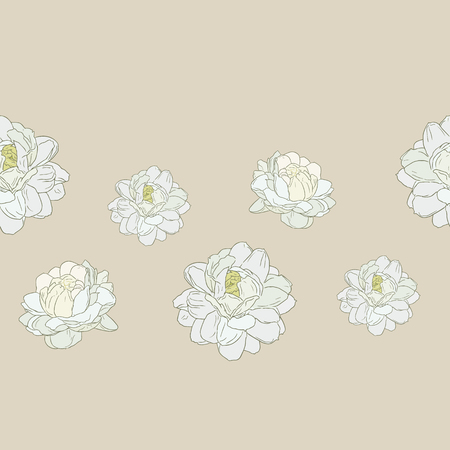 jasmine flower use in traditional mothers day , hand draw sketch seamless pattern vector.
