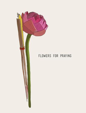 Lotus, incense sticks and candles set for praying Buddha at temple Illustration