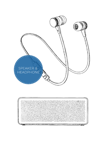 speakers: Speaker and Headphones vector set music technology accessory studio sound design collection