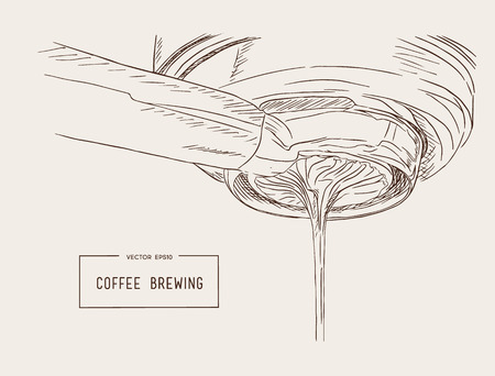 Close-up of espresso pouring from coffee machine. Professional coffee brewing sketch vector. Reklamní fotografie - 83661338