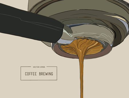 Close-up of espresso pouring from coffee machine. Professional coffee brewing sketch vector. Illustration