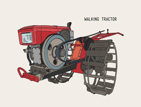 plows machine - Walking Tractor  for cultivated soil for rice, hand draw sketch vector.