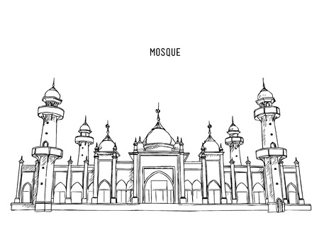 Muslim mosque ,Traditional arabesque ornament, crescent and stars. Vector Illustration. Eid Mubarak greetings. Ramadan Kareem.hand draw sketch vector.