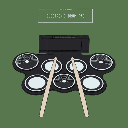 silicone electronic drum pad kit with drum stick sketch vector. Illustration