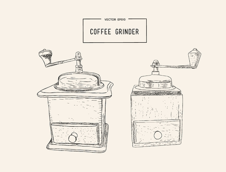 Retro manual coffee grinder or mill with coffee beans sketch in vintage style. Cafe or restaurant menu design. Ilustração