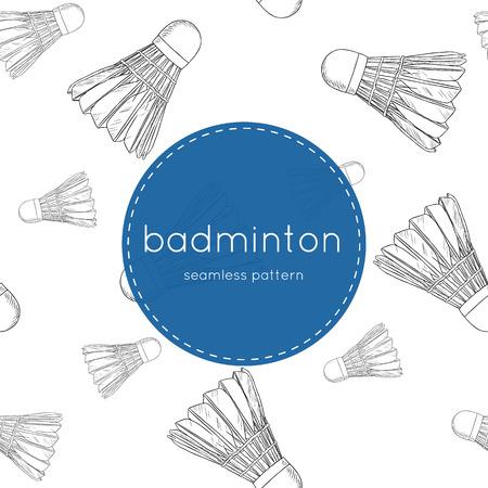shuttlecocks - badminton concept hand draw sketch seamless pattern vector.