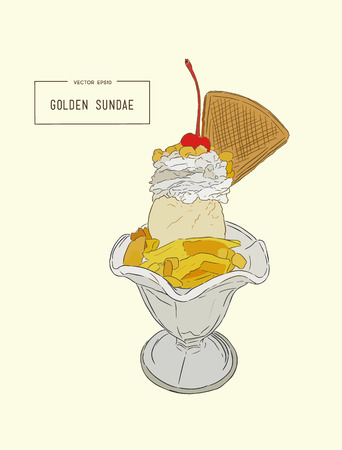 ice: ice-cream sundae glass ,hand draw  sketch vector.