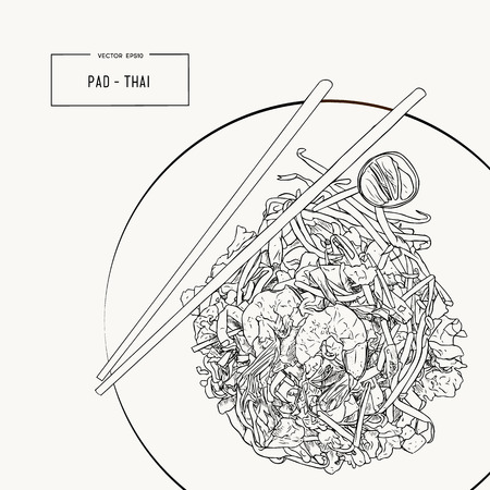 Pat Thai stir-fried rice noodle local Thailand food, hand draw sketch vector.
