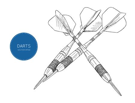 Pijl darts gestileerde tekening vectorillustratie
